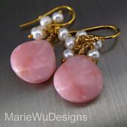 SOLD 13mm Pink Opal-Fresh Water Pearl Fringe-18k Gold Vermeil Dangle Earrings