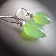 Green Chalcedony Briolette-Sterling Silver Stardust-contemporary Earrings