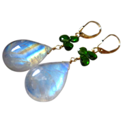 Superior Rainbow Moonstone-Chrome Diopside-14k Solid Gold Leverback Earrings