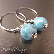 10mm Larimar-Endless Sterling Silver Hoops-Dangle Earrings