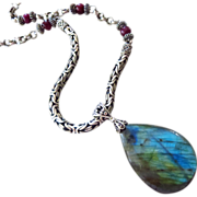 "SOLD Bold-25"" Fire Labradorite-Ruby-Oxidized Sterling Bali Silver Necklace"