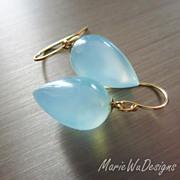 14k Aqua Chalcedony Teardrops-Everyday Solid Gold Dangle Earrings