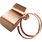 18k Rose Gold Vermeil Cubes-Hoopy Dangle Contemporary Earrings