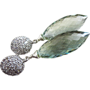 SOLD Superior Green Amethyst-Prasiolite Puffed Marquise-Sterling Silver CZ Post Dangle Earring