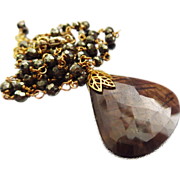 Natural Unheated Toffee Sapphire-Pyrite-18k Gold Vermeil Pendant Necklace