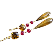 SALE Natural Ruby-Gem Honey Quartz-18k Solid Gold OOAK Long Dangle Earrings