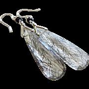 Best Tourmalated Quartz-Black Rutile-Black Spinel-14k Solid White Gold Dangle Earrings