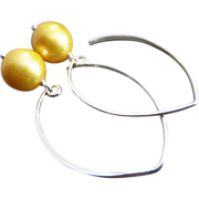 11mm Natural Golden Fresh Water Pearls-Contemporary Sterling Silver-Gold Fill Hoop Dangle Earr
