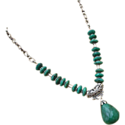 SALE 172ct Genuine Natural Emerald-May Birthstone-Bali Handmade Silver Pendant Necklace
