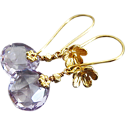 SOLD Sweet Pink Amethyst-24k Gold Vermeil Blossom Dangle Earrings