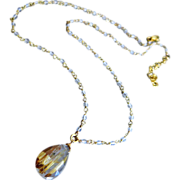 Spun Gold-Golden Rutilated Quartz-Crystal Quartz-18k Gold Vermeil Necklace