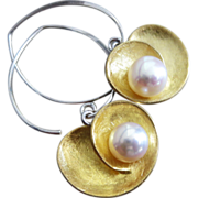Mixed Metals-Sterling Silver-Gold Vermeil-FW Pearl Bold Earrings