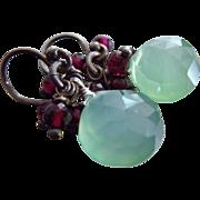SOLD Glowing Moss Green Chalcedony-Garnet-Oxidized Sterling Silver Dangle Earrings