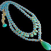 Exceptional Apatite-Gem Chrysoprase-2 Strand 18k Gold Vermeil Layering Adjustable Necklace wit