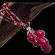 Genuine Ruby Briolette Cluster July Birthstone Pendant-Sterling Silver Necklace