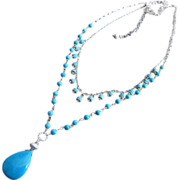 SOLD 2 strand Sleeping Beauty Turquoise-Fringe Charm-Sterling Silver Adjustable Necklace