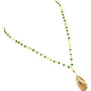 SALE AAA Rutilated Quartz-Solid 18k Gold-Chrome Diopside Pendant Necklace