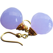 SALE Rare 30ct Natural Holly Holley Blue Chalcedony-18k Solid Yellow Handmade Gold Dangle Earr