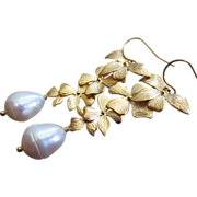 Petals-Genuine 15mm Teardrop FW Pearls-Gold Plated Blossom Dangle Leverback Bridal-Bridesmaid