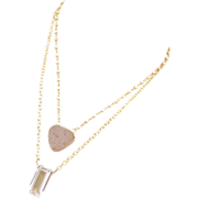 Natural Drusy-Emerald Cut Crystal Quartz-Fresh Water Pearl 2 Strand Layering Gold Vermeil Neck