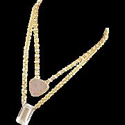 Natural Drusy-Emerald Cut Crystal Quartz-Fresh Water Pearl 2 Strand Layering Gold Vermeil Neck