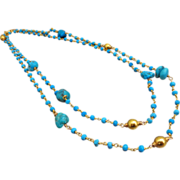 "38"" Long Arizona Turquoise Nuggets-Tibetan Turquoise-24k Gold Vermeil Bead Long Layering"