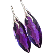 SOLD Purple Amethyst Marquises-Sterling Silver Branch Leverback Earrings