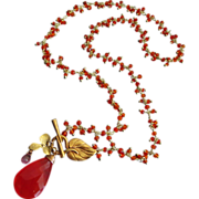 Best Orange Carnelian-Pink Topaz Charm-Blossom Floral Pendant Gold Fill Fringe Charm Necklace