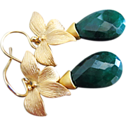SOLD Genuine Emerald-May Birthstone-Blossom Gold Plated Floral Earrings