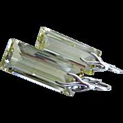 SOLD Emerald Cut Lemon Quartz-Sterling Silver Branch Leverback Earrings