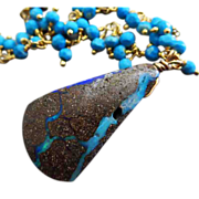 SALE Natural Australian Boulder Opal-Tibetan Turquoise Fringe-Gold Fill Toggle Necklace with C