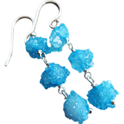 Rare-Druzy Cluster Balls-Moroccan Drusy Geode Dangle Sterling Silver Earrings