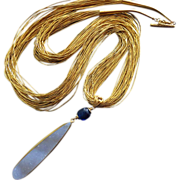 "30"" Huge Natural Druzy-Gem Kyanite-30 Strand Liquid Gold Vermeil Silver-One Of A Kind-Dru"