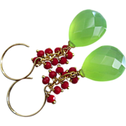 Green Chalcedony-Faceted Coral Fringe-Gold Fill Dangle Earrings