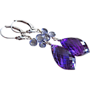 14k Iolite-Water Sapphire-Amethyst-Solid White Gold Dangle Earrings