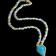 Geometric Aqua-Blue-Green Chalcedony Pendant Gold Plated Necklace