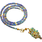 3in1 70ct Best Ethiopian Welo Opal-October Birthstone-18k Solid Gold-Briolette Cascade 3 Way Pendant Necklace