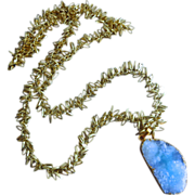 Larimar Blue Drusy Druzy-32 Inch Gold Plated Charm Long Layering Necklace