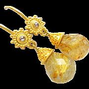 Spun Gold-Rare 35ct Golden Rutilated Rutile Quartz-Champagne Diamond-18k Solid Gold Dangle Ear