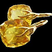 SOLD Cushion Citrine-18k Gold Vermeil Branch Leverback Earrings