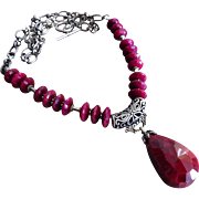 180ct Genuine Ruby-July Birthstone-Bali Handmade Oxidized Silver Pendant Necklace