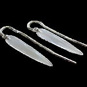 SALE Slender Crystal Quartz Tapers-14k White Gold Threader Dangle Earrings