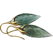 32ct Green Amethyst-Prasiolite-14k Solid Yellow Gold-Petal Earrings