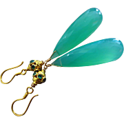 AAA Chrysoprase-Natural Emerald-18k Solid Gold Long Dangle Earrings
