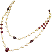 """38"""" Ruby Garnet Fresh Water Pearls-Gold Fill Long Layering Necklace"""