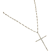 "24"" Pave Diamond Cross Pendant-Natural FW Seed Pearl-Oxidized Sterling Silver Rhodium Lay"
