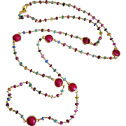 "38"" Emerald-Ruby-Blue Pink Yellow Orange Sapphire-Precious Gems-Bezel Ruby-Long Layering"