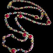 "38"" Emerald-Ruby-Blue Pink Yellow Orange Sapphire-Precious Gems-Bezel Ruby-Long Layering"