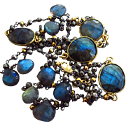 """SOLD 36"""" Fire Labradorite-Pyrite-Mixed Metals-Oxidized Sterling Silver-Gold Vermeil-Long"""