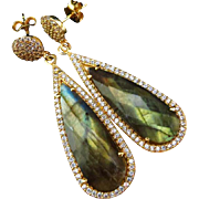 Fire Labradorite--Pave CZ 18k Gold Vermeil Dangle Post Earrings